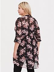 Breast Cancer Awareness Lexie - Pink & Black Floral Babydoll Tunic, MULTI, alternate