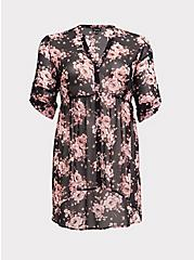 Breast Cancer Awareness Lexie - Pink & Black Floral Babydoll Tunic, MULTI, hi-res