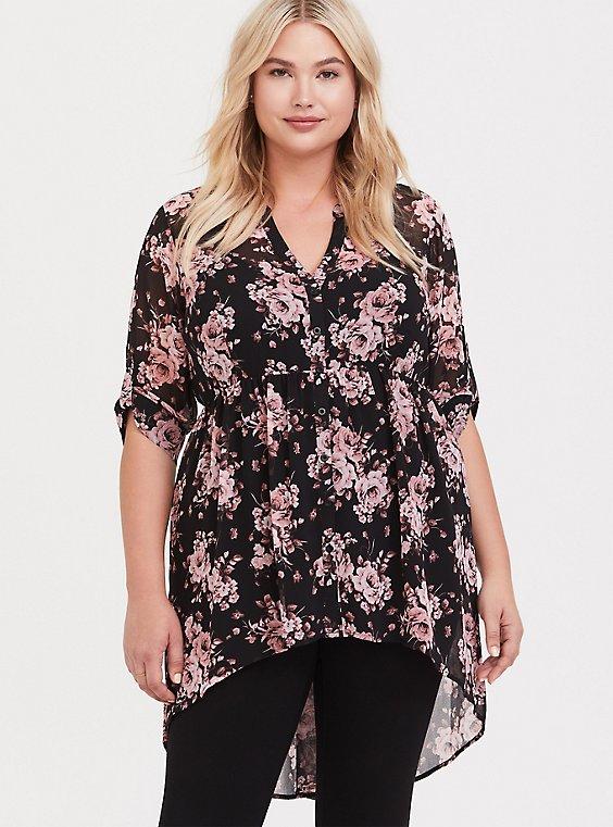 Breast Cancer Awareness Lexie - Pink & Black Floral Babydoll Tunic, , hi-res