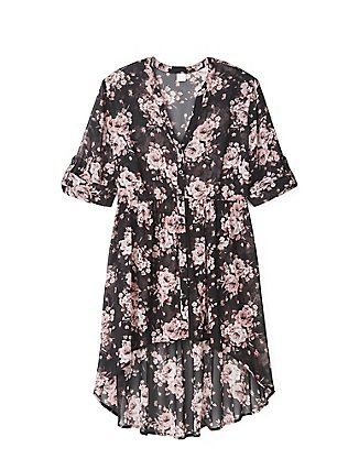Breast Cancer Awareness Lexie - Pink & Black Floral Babydoll Tunic, MULTI, pdped