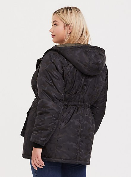 Dark Grey Camo Hooded Cargo Coat, , alternate