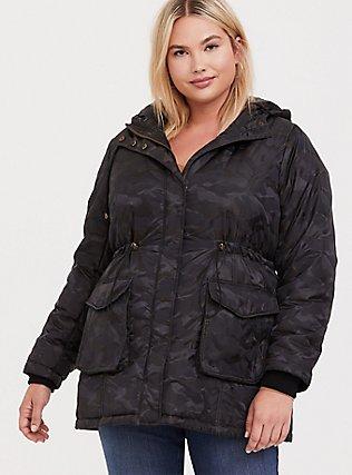 Dark Grey Camo Hooded Cargo Coat, , hi-res