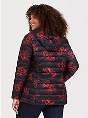 Black & Red Floral Nylon Packable Puffer Jacket, , alternate