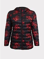 Black & Red Floral Nylon Packable Puffer Jacket, , hi-res