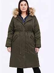 Olive Green Twill Faux Fur Hooded Longline Parka, DEEP DEPTHS, alternate
