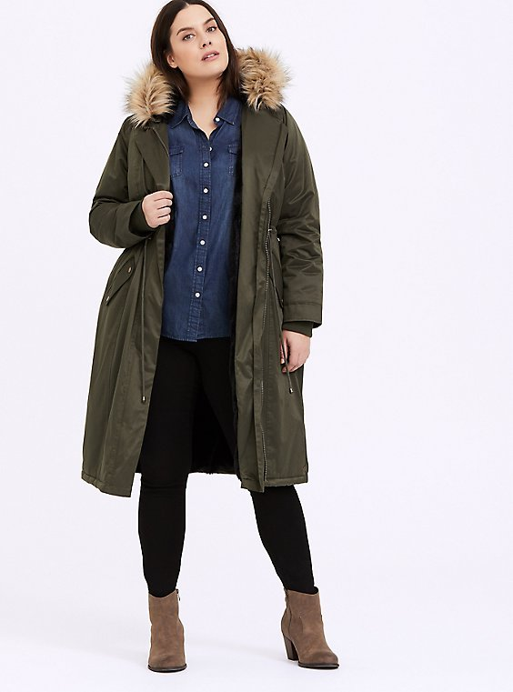 Olive Green Twill Faux Fur Hooded Longline Parka, , hi-res