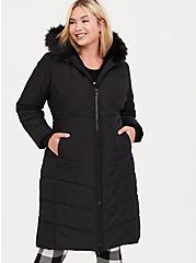 Black Faux Fur Trimmed Hooded Longline Puffer Coat, DEEP BLACK, alternate