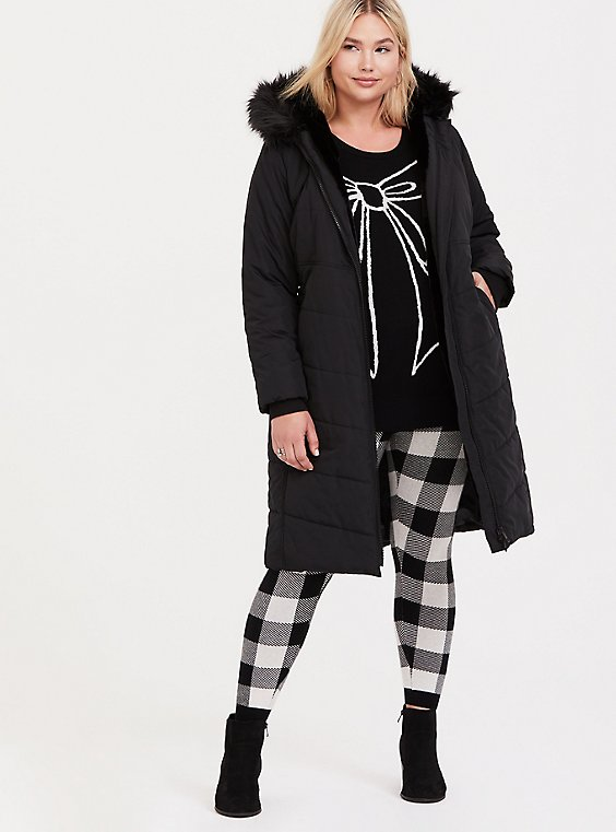 Black Fit & Flare Longling Faux Fur Trimed Hooded Puffer Coat, , hi-res