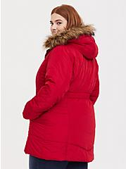 Red Faux Fur Trim Hooded Fit & Flare Puffer Coat, JESTER RED, alternate