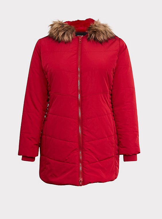 Plus Size Red Faux Fur Trim Hooded Fit & Flare Puffer Coat, , flat