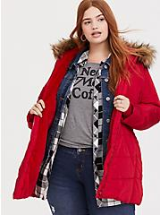 Red Faux Fur Trim Hooded Fit & Flare Puffer Coat, JESTER RED, hi-res
