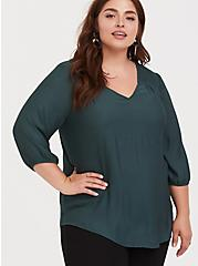 Dark Green Crepe Smocked Blouse, GREEN GABLES, hi-res