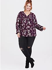 Purple Floral Relaxed Lace Challis Tunic Blouse, MULTI, alternate