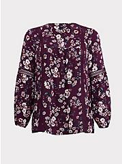 Purple Floral Relaxed Lace Challis Tunic Blouse, MULTI, hi-res