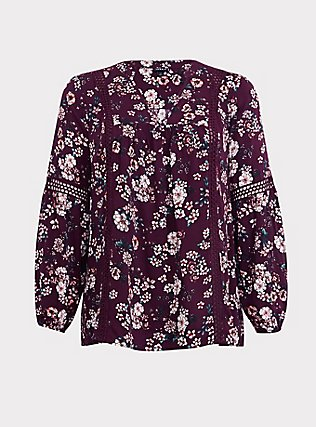Purple Floral Relaxed Lace Challis Tunic Blouse, MULTI, flat