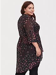 Lexie - Black Floral Dotted Chiffon Babydoll Tunic, FLORAL - BLACK, alternate