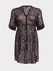Lexie - Black Floral Dotted Chiffon Babydoll Tunic, FLORAL - BLACK, hi-res
