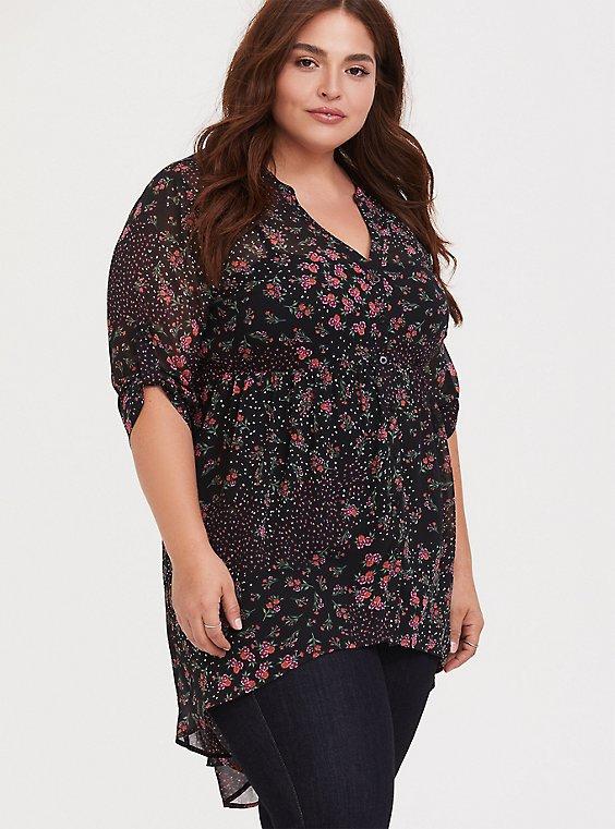 Lexie - Black Floral Dotted Chiffon Babydoll Tunic, , hi-res
