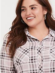 Pink & Grey Plaid Challis Button Front Shirt, PLAID - GREY, alternate
