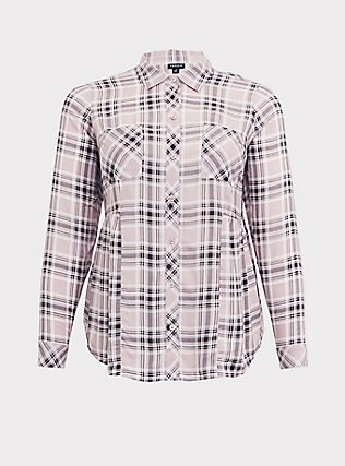 Pink & Grey Plaid Challis Button Front Shirt, PLAID - GREY, flat
