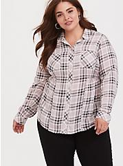 Pink & Grey Plaid Challis Button Front Shirt, PLAID - GREY, hi-res