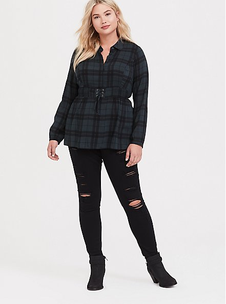 Green Plaid Challis Corset Peplum Top, PLAID - GREEN, alternate