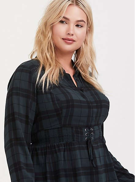 Green Plaid Challis Corset Peplum Top, PLAID - GREEN, hi-res