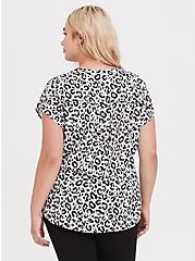 Plus Size White Leopard Dolman Challis Blouse, MULTI, alternate