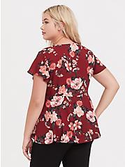 Dark Red & Pink Floral Georgette Flutter Sleeve Peplum Blouse, MULTI, alternate