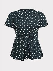 Green & White Polka Dot Georgette Tie-Front Peplum Blouse, MULTI, hi-res