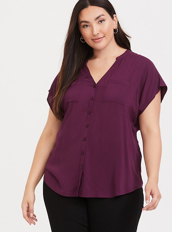 Burgundy Purple Challis Dolman Blouse, , hi-res