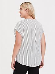 Plus Size White & Black Pinstripe Dolman Challis Blouse, MULTI, alternate