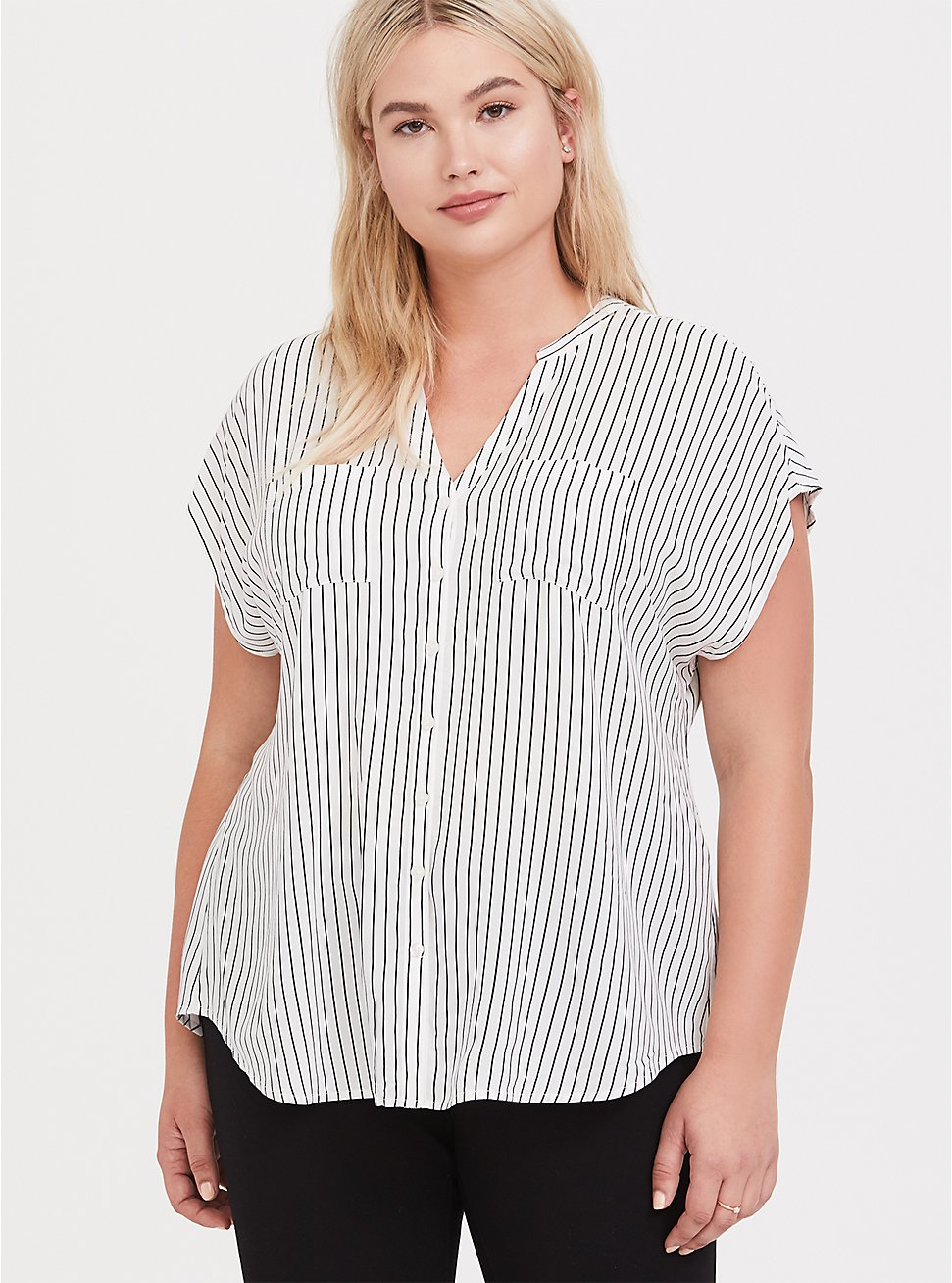 Plus Size White & Black Pinstripe Dolman Challis Blouse, MULTI, hi-res