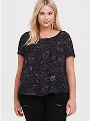 Abbey - Black Witch Print Georgette Button-Back Blouse, WITCHY - BLACK, alternate