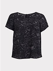 Abbey - Black Witch Print Georgette Button-Back Blouse, WITCHY - BLACK, hi-res