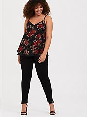 Sophie - Black & Red Floral Double Layer Swing Cami, MULTI, alternate