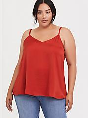 Sophie - Red Terracotta Charmeuse Satin Swing Cami, KETCHUP, hi-res