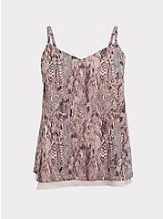 Sophie - Snakeskin Print Double Layer Swing Cami, SNAKE - BROWN, hi-res