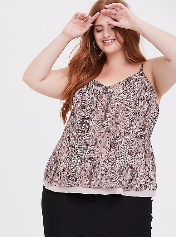 Sophie - Snakeskin Print Double Layer Swing Cami, , hi-res