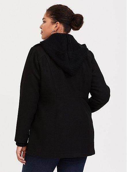 Black Toggle Hooded Woolen Coat, DEEP BLACK, alternate