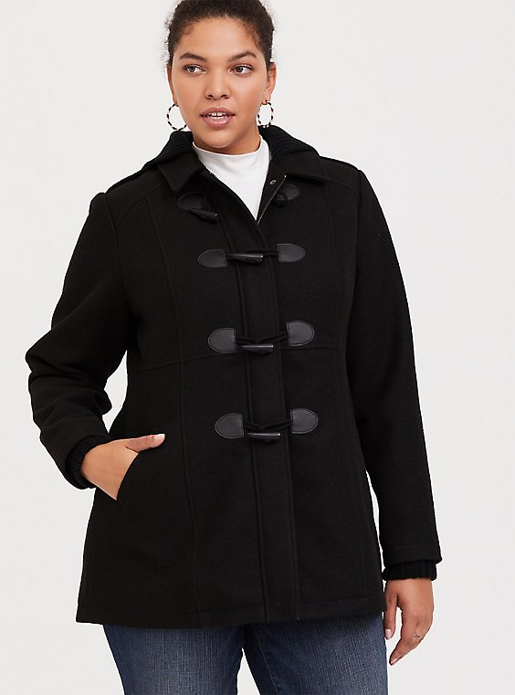 Plus Size Black Toggle Hooded Woolen Coat, , hi-res
