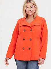 Orange Double-Breasted Woolen Peacoat, , alternate