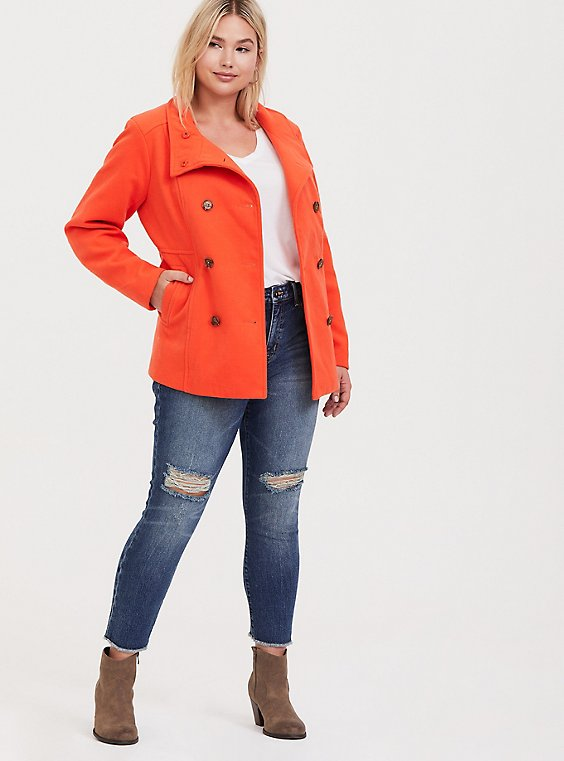Plus Size Orange Double-Breasted Woolen Peacoat, , hi-res