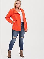 Orange Double-Breasted Woolen Peacoat, , hi-res