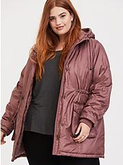Walnut Hooded Cargo Coat, WALNUT, hi-res