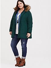 Plus Size Green Faux Fur Trim Hooded Fit & Flare Puffer Coat, PINE GROVE, alternate