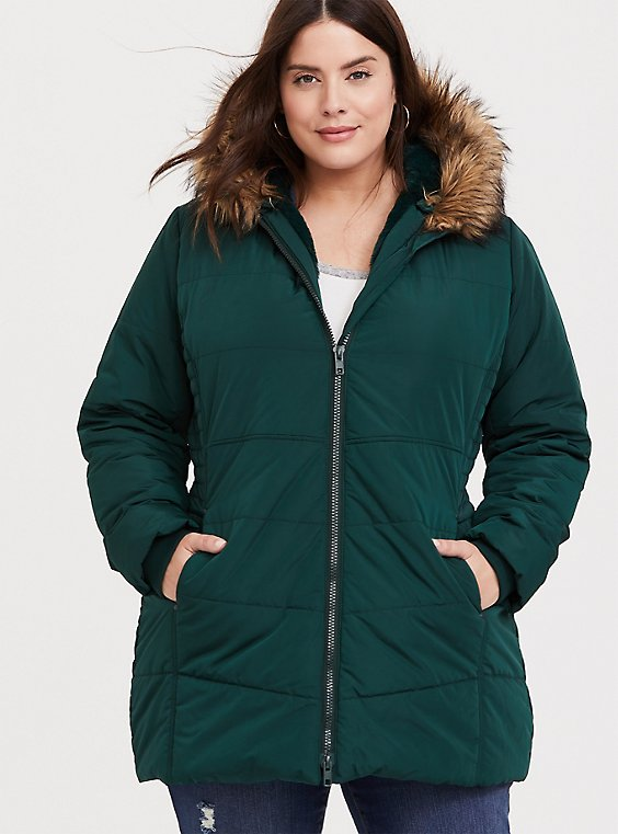 Plus Size Green Faux Fur Trim Hooded Fit & Flare Puffer Coat, , hi-res