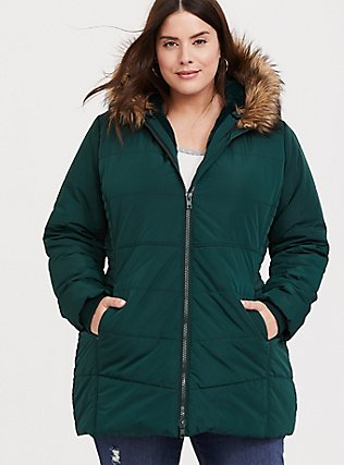 Green Faux Fur Trim Hooded Fit & Flare Puffer Coat, PINE GROVE, hi-res