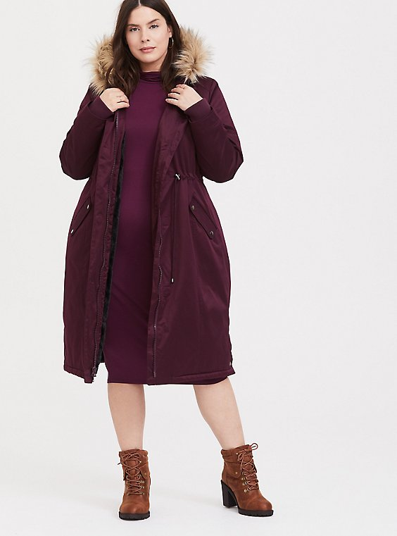 Plus Size Burgundy Purple Twill Faux Fur Hooded Longline Parka, , hi-res