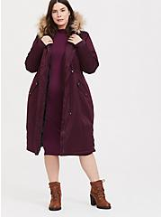 Burgundy Purple Twill Faux Fur Hooded Longline Parka, WINETASTING, hi-res